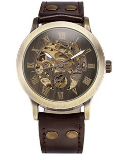 AMPM24 Men's Steampunk Bronze Skeleton Self-Winding Auto Mechanical Leather Wrist Watch PMW198 – Watches for Boys