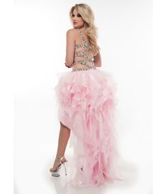 Jasz Couture 2013 Prom - Pink Ruffled High Low Prom Gown - Unique Vintage - Prom dresses, retro dresses, retro swimsuits.