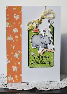 Lawn Fawn - Year Four, Birthday Tags, Tag, You're It Lawn Cuts dies, Into the Woods 6x6 paper, Daphne's Closet 6x6 paper _ adorable birthday card by Nicola via Flickr - Photo Sharing!
