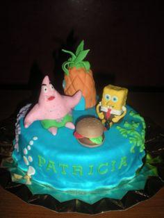 Tarta de Bob Esponja!! Toda la decoración hecha en fondant, y la Casa Piña también en bizcocho!!