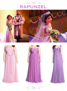 6 Bridesmaid Sets Inspired By Disney Weddings | Tangled + Rapunzel inspired lavender purple bridesmaids dresses | [ http://di.sn/6000BfnIK ]