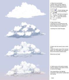 Quick SAI cloud tutorial by PotatoKoko on DeviantArt Digital Painting Tutorials, Digital Art Tutorial, Art Tutorials, Cloud Tutorial, Concept Art Tutorial, Arte Sketchbook, Aesthetic Painting, Guache, Ipad Art