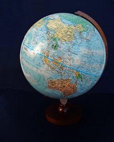 "Replogle Nation Series 12"" Globe Raised Relief w/ Metal Frame Solid Wood Base"