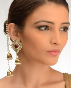 Ornate Square Earrings with Jhumki Drops  by Bansri Joaillerie