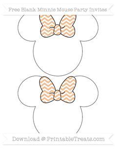 Pastel Orange Chevron  Blank Minnie Mouse Party Invites