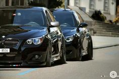 BMW E60 5 series black slammed duo
