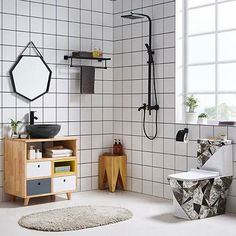 Dree Contemporary Wall-Mount Square Rain Shower & Slide Bar Hand Shower System in Matte Black Solid Brass - Shower Systems - Shower Faucets - Bath & Faucets Kitchen Furniture, Living Room Furniture, Modern Furniture, Behindertengerechtes Bad, Faux Marble Dining Table, Bathroom Sink Faucets, Bath Taps, Tub Faucet, Coffee Table With Drawers