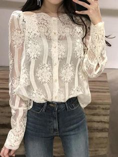 Womens Fashion Off Shoulder Chic Casual Lace Tops New Embroidery Flowers Blouses Ny Fashion Week, Look Fashion, Fashion Outfits, Womens Fashion, Fashion Boots, Paris Chic, Mode Chic, Lace Embroidery, Blouse Outfit