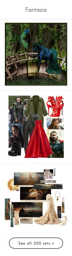 """Fantasia"" by xxrandomgirlxx ❤ liked on Polyvore featuring art, Odin, Alex Perry, Giuseppe Zanotti, Chinese Laundry, Dolce&Gabbana, Alexander McQueen, marvel, Loki and thor"