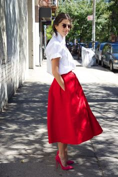 Man Repeller - red full skirt from Tibi
