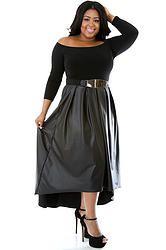 Black Long Sleeve Leather Maxi Dress (Plus Size)