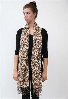 Vintage style Leopard Print pashmina shawl Scarf