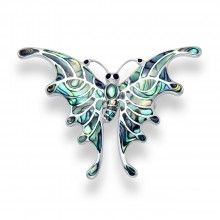 Colourful Silver Paua Shell Butterfly Brooch