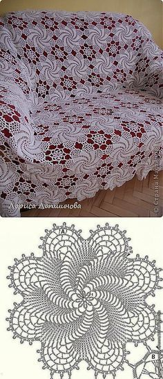 A beautiful tablecloth or sofa cover with its diagram