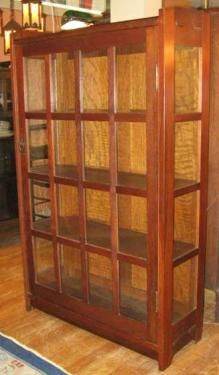 "signed Gustav Stickley single door china closet in fine original condition/finish. 56""H x 35 1/4""W x 13""D"