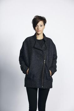 £110 Liquorish Grey Herringbone Zip Up Lapel Coat-New Women's Coat | Liquorish Clothing www.liquorishonline.com