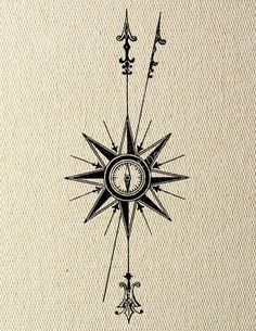 North Point Compass Steampunk Instant Download Digital Transfer Image for Iron On by LisaChristines, $1.00