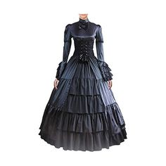 Partiss Women Bowknot Stand Collar Gothic Victorian Dress Costumes ❤ liked on Polyvore featuring costumes, women's halloween costumes, gothic lolita costume, victorian costumes, ladies halloween costumes and lady halloween costumes