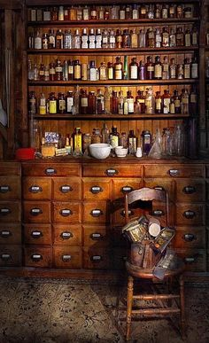 Apothecary - Just the usual selection Acrylic Print by Mike Savad. All acrylic prints are professionally printed, packaged, and shipped within 3 - 4 business days and delivered ready-to-hang on your wall. Apothecary Decor, Apothecary Cabinet, Apothecary Bottles, Jars Decor, Bar Medieval, Cabinet Of Curiosities, Antique Furniture, Wooden Furniture, Kitchen Furniture