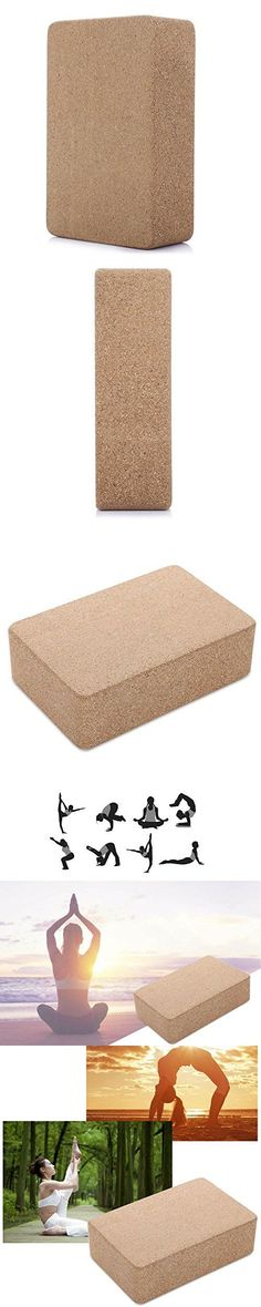 RUNACC Eco-friendly Cork Yoga Block Lightweight Natural Yoga Brick Moisture-proof Cork Wood Yoga Block, Suitable for Multiple Types of Yoga, Wood Color