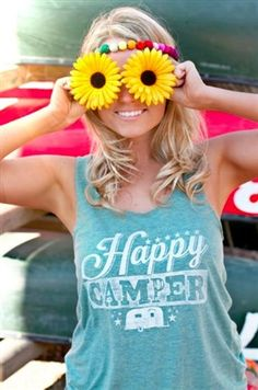 Turquoise tank with camper screen print.