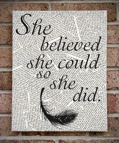 "Quote Wall Art: ""She Believed She Could So She Did"" Inspirational Canvas Art  Makes a Great Gift!!"