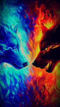Ice and Fire Wolf Ice Wolf Wallpaper, Fire And Ice Wallpaper, Animal Wallpaper, Tiger Artwork, Wolf Artwork, Mystical Animals, Mythical Creatures Art, Fantasy Wolf, Dark Fantasy Art