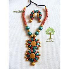 Terracotta Jewellery_Gold Peach Green  https://www.facebook.com/maitricrafts.maitri https://www.facebook.com/maitri.crafts maitri_crafts@yahoo.com