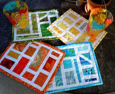 Rainbow mug rugs....placemats