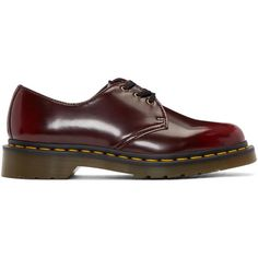 Dr. Martens Red Vegan 1461 Derbys (315 TND) ❤ liked on Polyvore featuring shoes, oxfords, red, faux leather oxfords, synthetic leather shoes, welted shoes, vegan shoes and red shoes