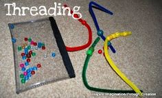 Inspire imagination through creation: Busy bags part 3 threading and matching colours