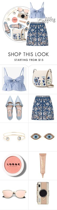 """""""Ruffled Tops"""" by arodkilark ❤ liked on Polyvore featuring Maryam Nassir Zadeh, French Connection, Miu Miu, Needle & Thread, Sole Society, Sydney Evan, LORAC, tarte and Kate Spade"""