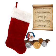 The Legend of the Christmas Stocking is a fun gift for all ages. Saint Nicholas was said to be the first to throw coins in stockings that hung on the fireplace mantle to dry. Imagine the enjoyment of