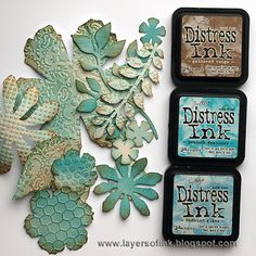 Layers of ink: Jumbo Tattered Florals Shadow Box Distress Ink Techniques, Embossing Techniques, Card Making Techniques, Flower Cards, Paper Flowers, Druckfarben Im Distress-look, Round Robin, Tim Holtz Distress Ink, Art Journal Tutorial