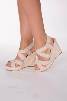 Drama Strappy Beige Wedge Sandal from LUSTY CHIC