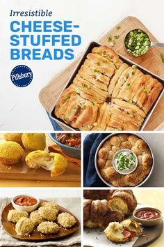 Round out any meal with cheesy breads and pull-aparts that just beg to be dipped, dunked, sauced and devoured. Simple Meals, Easy Meals, Bread Recipes, Cooking Recipes, Extra Recipe, Pillsbury Recipes, Bakers Rack, Wonderful Recipe, Meat Lovers