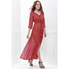 13.57$  Watch now - http://didnm.justgood.pw/go.php?t=167033101 - Bohemian Printed V-Neck High Slit 3/4 Sleeve Dress For Women