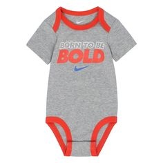 """Baby Boy Nike """"Born To Be Bold"""" Bodysuit, Size: 3-6 Months, Grey Other"""