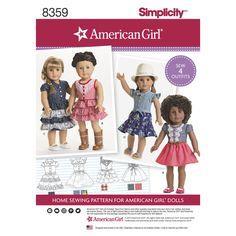 """Simplicity sewing pattern 8359 American Girl 18"""" doll clothes dress NEW 2017 by SewLizziPatterns on Etsy"""