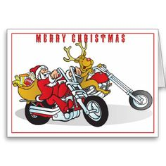 Santa and his reindeer delivering joy on their motorcycle's Christmas cards. #biker #motorcycle #chopper