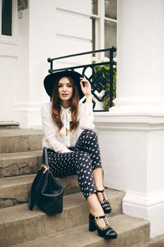 Orla Kiely Clarks Shoes and Monochrome Look - What Olivia Did