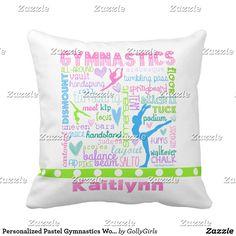 Personalized Pastel Gymnastics Words Typography Throw Pillow