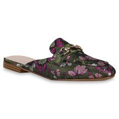 Die grünen Pantoletten mt Blumen findest Du auf stiefelparadies.de