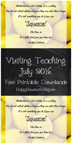 Visiting Teaching Handout July 2016 free printable download