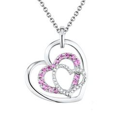 Two Hearts Forever One Lab-Created Pink Sapphire & Diamond Accent Sterling Silver Triple Heart Pendant Necklace