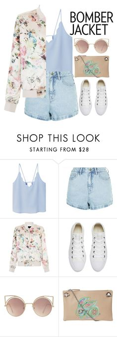"""Light Topping: Summer Bomber Jackets"" by samang ❤ liked on Polyvore featuring MANGO, New Look, Converse, The Row and bomberjackets"