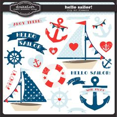 Hello Sailor Clip Art Collection Nautical Themed by DreAmLoft on Etsy https://www.etsy.com/listing/130829552/hello-sailor-clip-art-collection