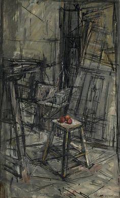 Alberto Giacometti, Manzanas en el taller, 1950. Óleo sobre lienzo, 70 x 42.5 cm, Colección particular