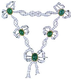 Jewels of the Romanovs - Plastron, DESIGNED BY VIKTOR NIKOLAEV, MOSCOW 1985 Platinum, gold, diamonds (58.27 carats), emeralds (72.33 carats) 7 1/2 x 6 3/4 in (19 x 17 cm) - copy of an original which belonged to Alexandra Feodorovna, wife of Nicholas II. Original was sold by the Soviet government.