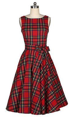 50s Rockabilly Bombshell Pinup Women Scotland Plaid Red Dress C011 | eBay